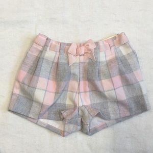 Mayoral Girls pink gray plaid shorts, never worn!